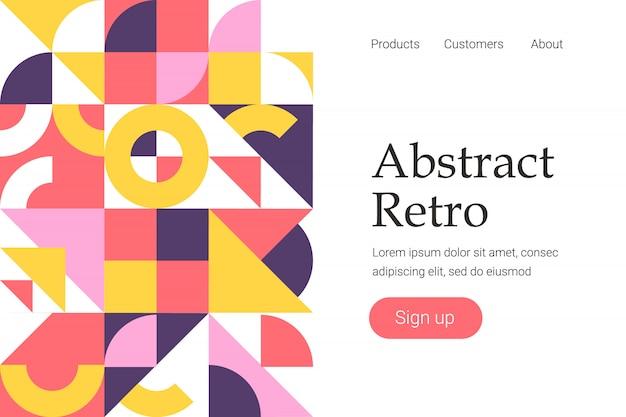 Design géométrique abstrait rétro pour modèle de site web ou page de destination Vecteur Premium