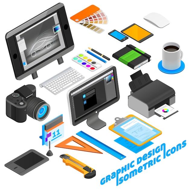 Design graphique isométrique icons set Vecteur gratuit