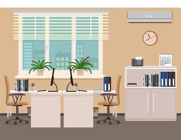 Design D'intérieur De Bureau Comprenant Deux Postes De Travail Avec Climatiseur. Organisation Du Lieu De Travail Dans Le Bureau D'affaires. Vecteur Premium