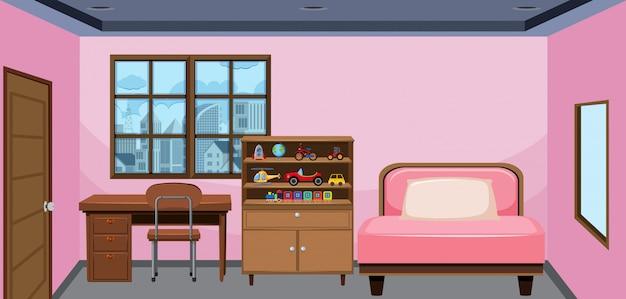 Design d'intérieur de chambre à coucher Vecteur Premium