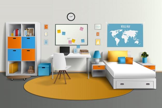 Design d'intérieur chambre jeune adolescent avec table d'ordinateur de lit Vecteur gratuit