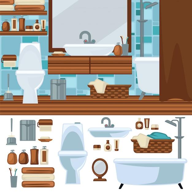 Design d'intérieur de salle de bain. accessoires et mobilier. Vecteur Premium