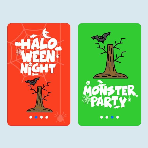 Design invitation joyeux halloween avec vecteur arbre et chauve-souris Vecteur gratuit