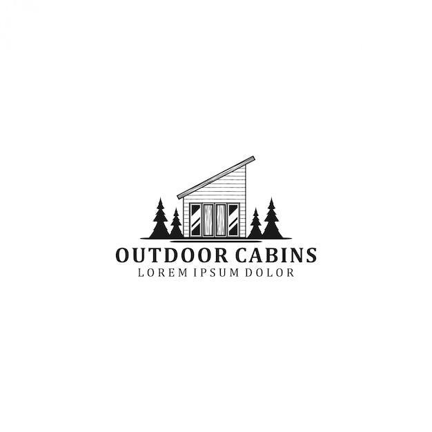 Design de logo de cabine extérieure - maison en plein air - forêt Vecteur Premium
