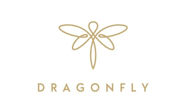 Design de logo élégant et minimaliste libellule avec style de dessin au trait Vecteur Premium