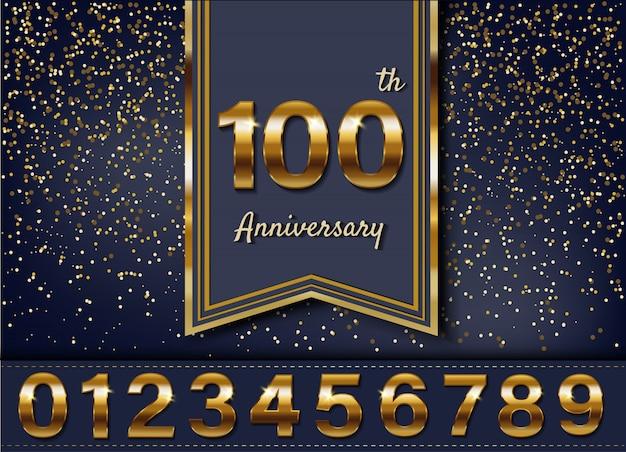 Design logotype anniversaire doré Vecteur Premium