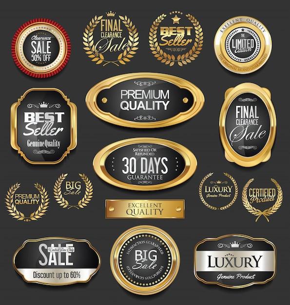 Design de luxe en or Vecteur Premium