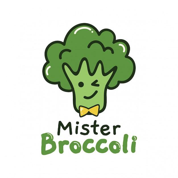 Design Mignon Avec Brocoli Vert Vecteur Premium
