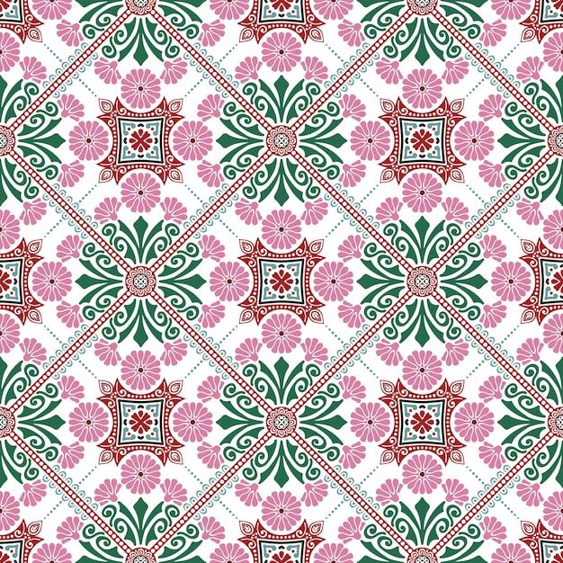 Design de motifs de carreaux décoratifs. illustration vectorielle Vecteur gratuit