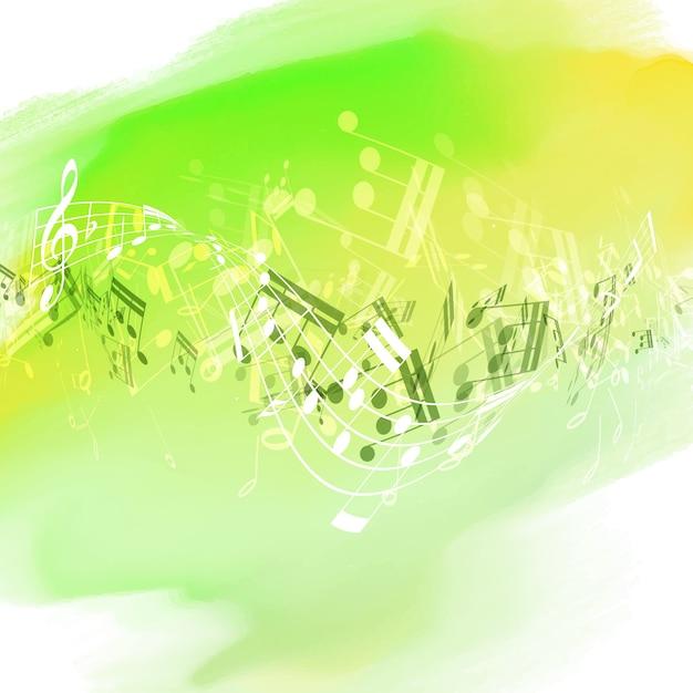 Design de note de musique abstraite sur un fond de texture d'aquarelle Vecteur gratuit