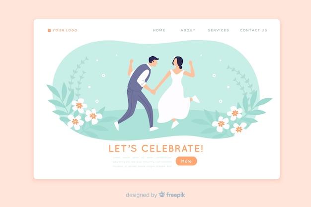 Design de page d'atterrissage de mariage Vecteur gratuit