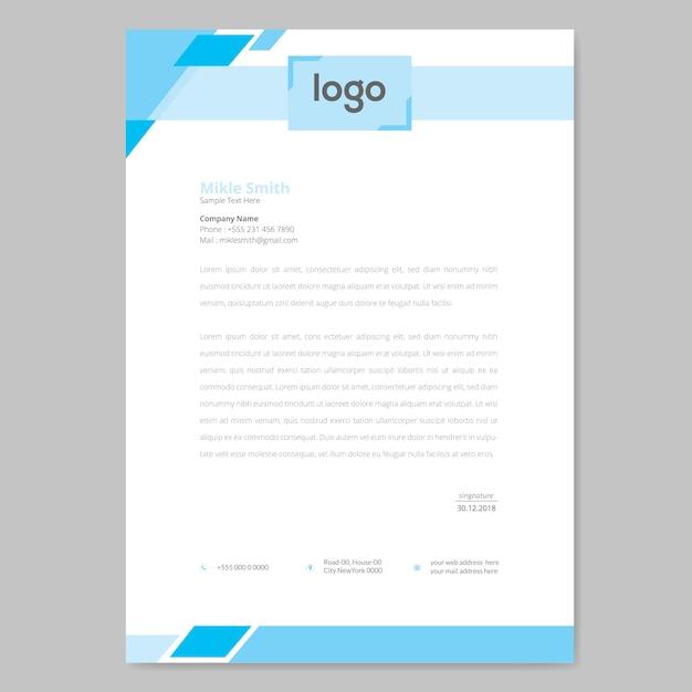 Design de papier à en-tête bleu Vecteur Premium