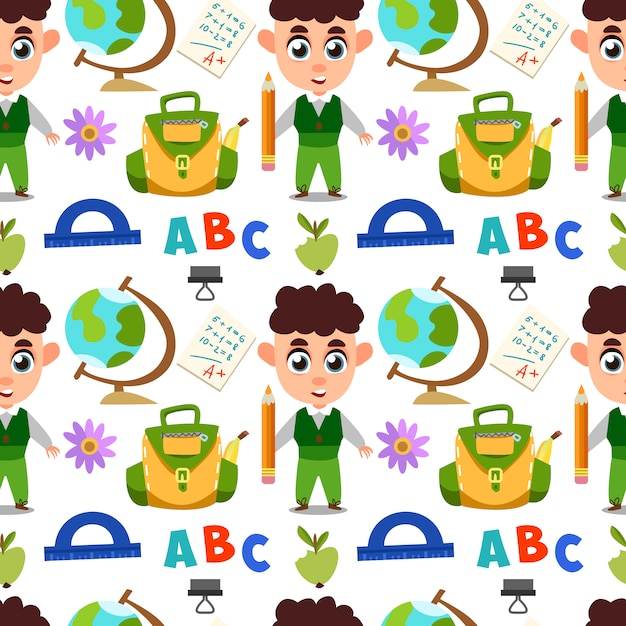 Design pattern école Vecteur gratuit