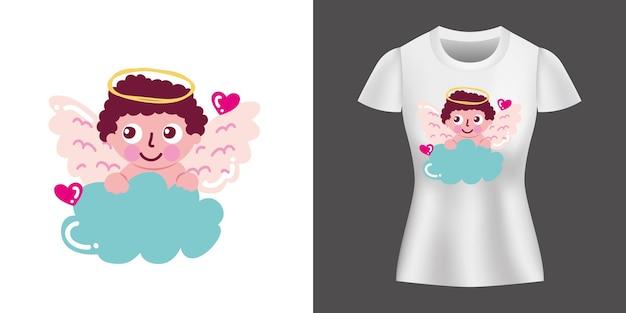 Design De Personnage Cupido Imprimé Sur La Chemise. Vecteur Premium