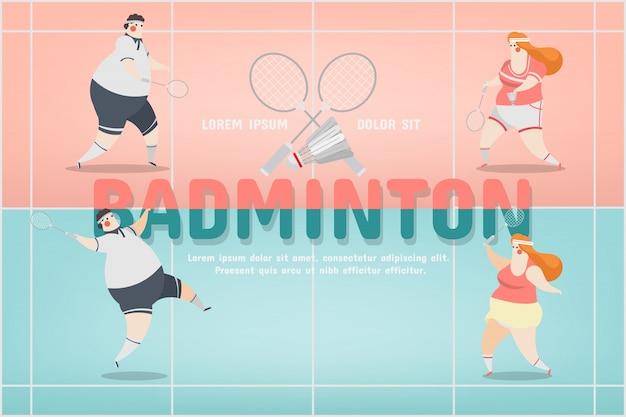 Design de personnage de sport de badminton Vecteur gratuit