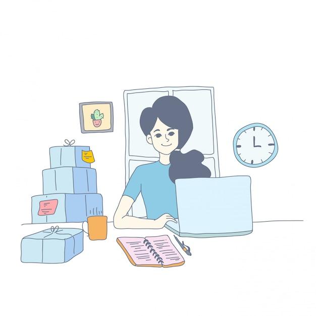 Design des personnages fille du vecteur Vecteur Premium