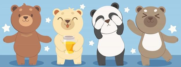 Le design des personnages d'ours Vecteur Premium