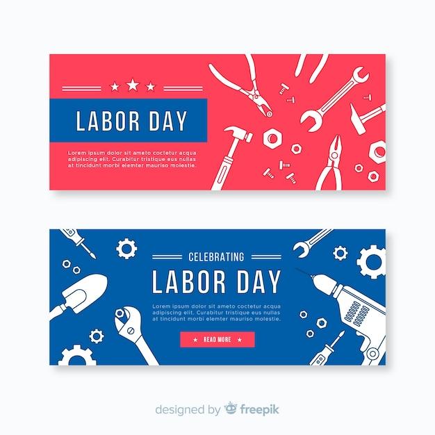 Design plat bannière fête du travail Vecteur gratuit
