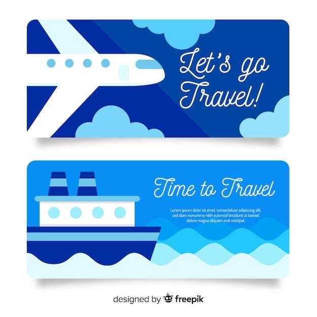 Design plat bannière de voyage bleu Vecteur gratuit