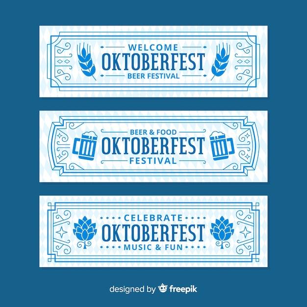 Design plat de bannières oktoberfest rétro Vecteur gratuit