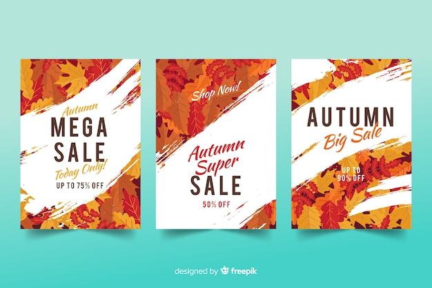 Design plat de bannières de vente automne Vecteur gratuit