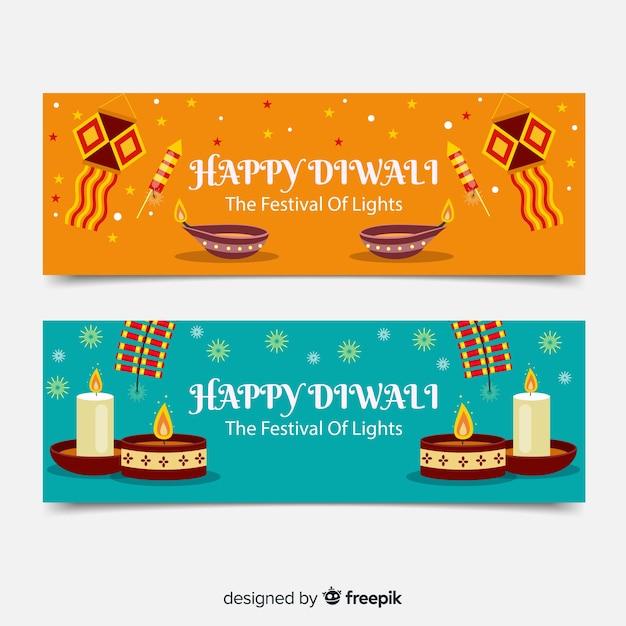 Design plat de bannières web diwali Vecteur gratuit