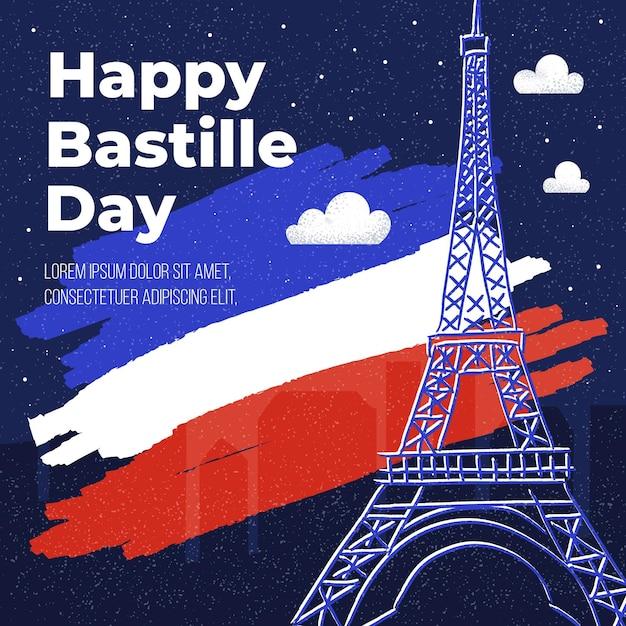 Design Plat Bastille Day Vecteur Premium
