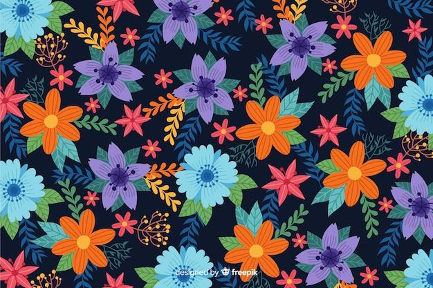 Design plat beau fond floral Vecteur gratuit