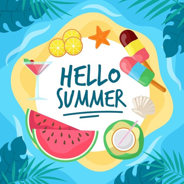 Design Plat Bonjour L'été Et La Crème Glacée Vecteur gratuit