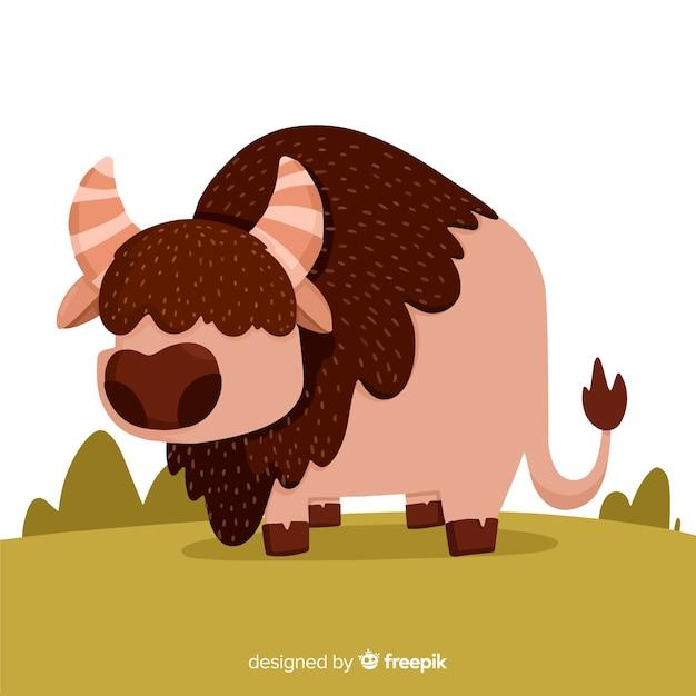 Design plat buffalo dangereux Vecteur gratuit
