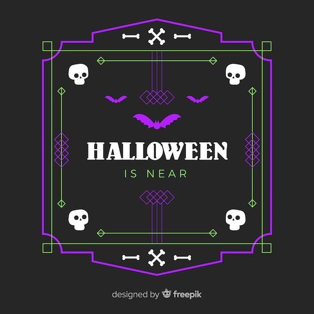 Design Plat De Cadre Violet Halloween Vecteur gratuit