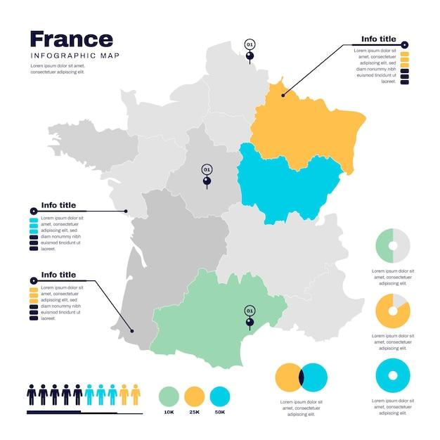 Design Plat Carte De France Infographique Vecteur gratuit