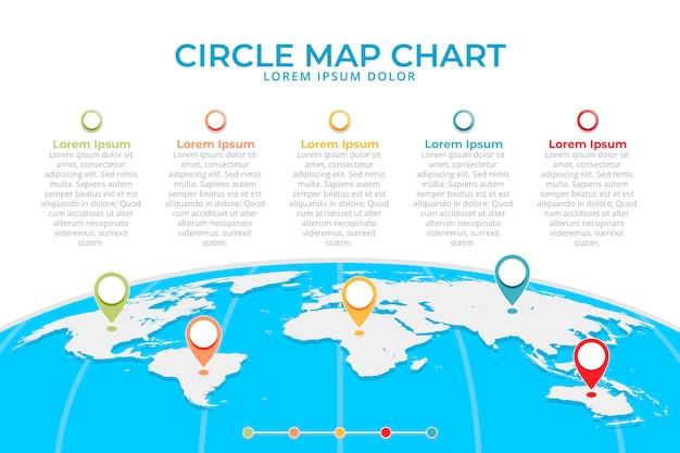 Design Plat Cartes Infographiques Avec Des Icônes De Localisation Vecteur Premium