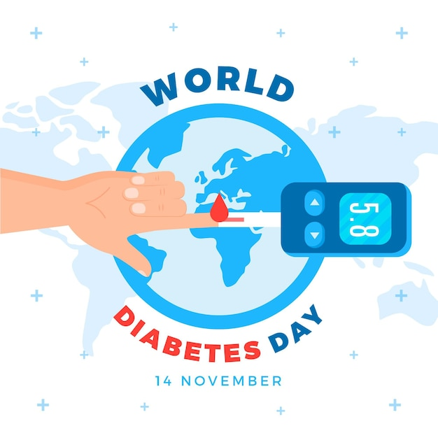 Design Plat De Célébration De La Journée Mondiale Du Diabète Vecteur gratuit