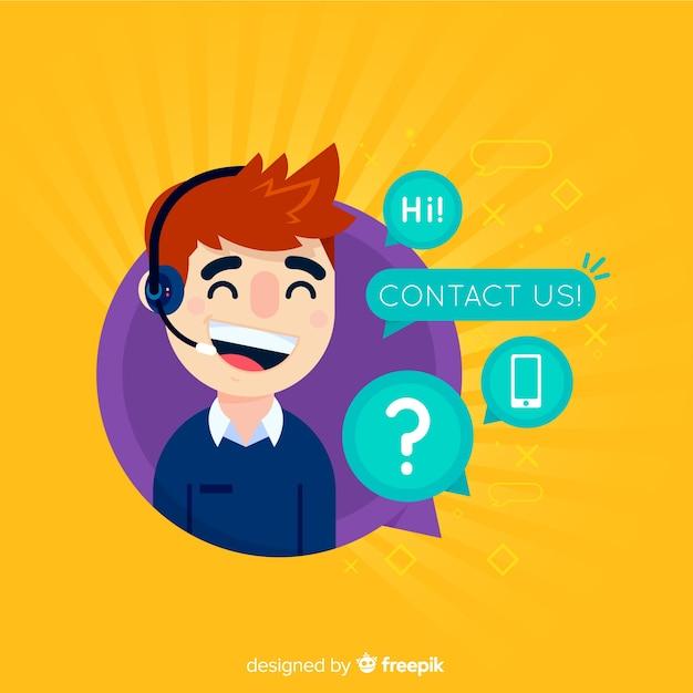 Design plat de centre d'appel téléphonique Vecteur gratuit