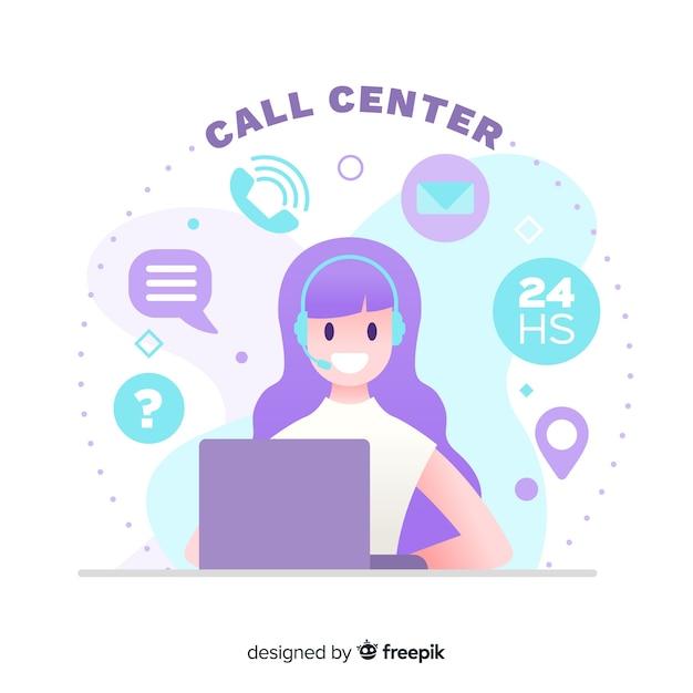 Design plat de centre d'appels Vecteur gratuit