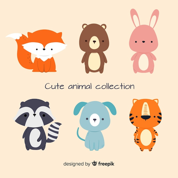 Design plat de la collection d'animaux mignons Vecteur gratuit