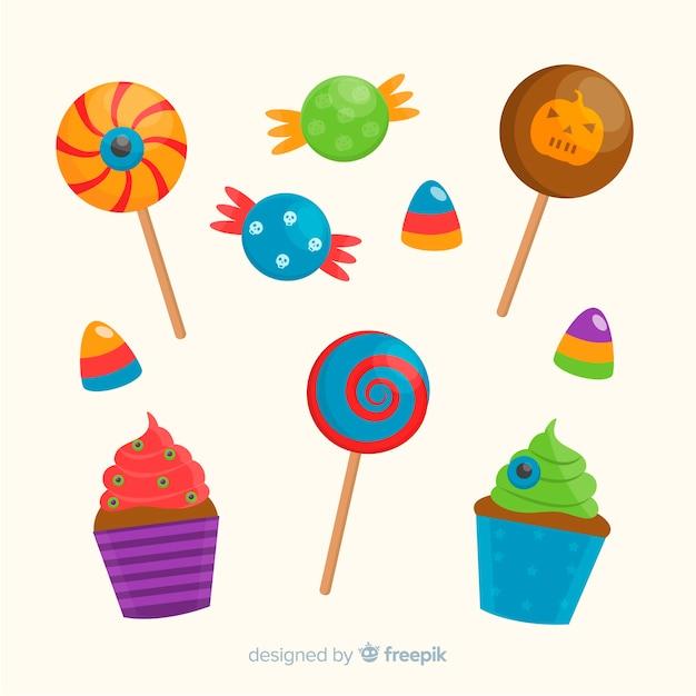 Design plat de la collection de bonbons d'halloween Vecteur gratuit