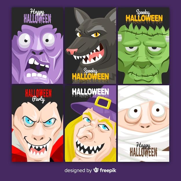 Design plat de la collection de cartes d'halloween Vecteur gratuit