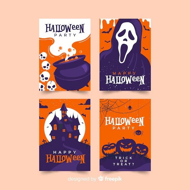 Design plat de la collection de cartes d'halloween Vecteur gratuit