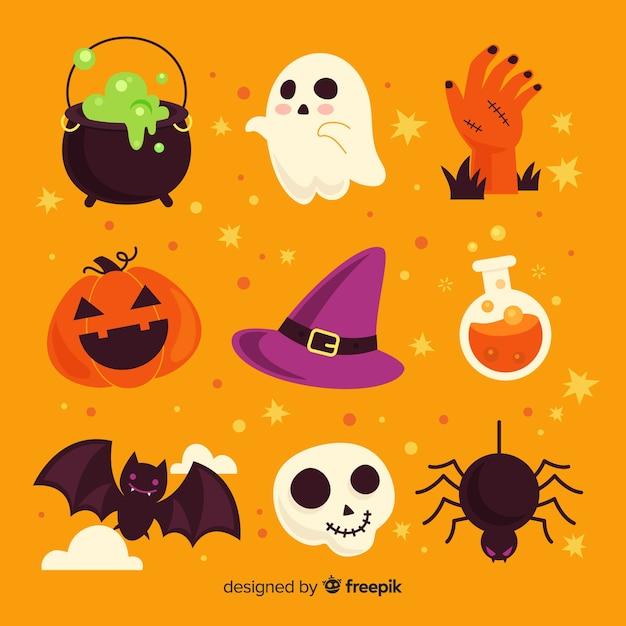 Design plat de la collection d'éléments d'halloween Vecteur gratuit