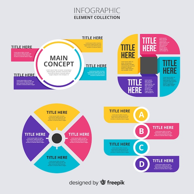Design plat de la collection d'éléments infographiques Vecteur gratuit