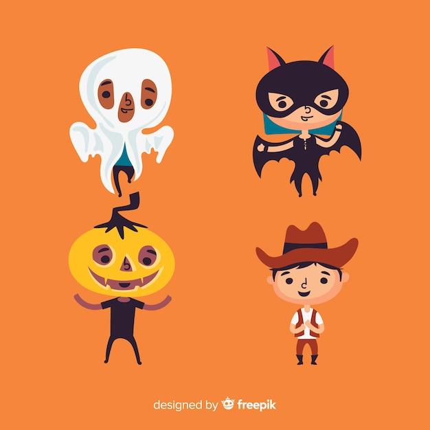 Design plat de collection enfant halloween Vecteur gratuit