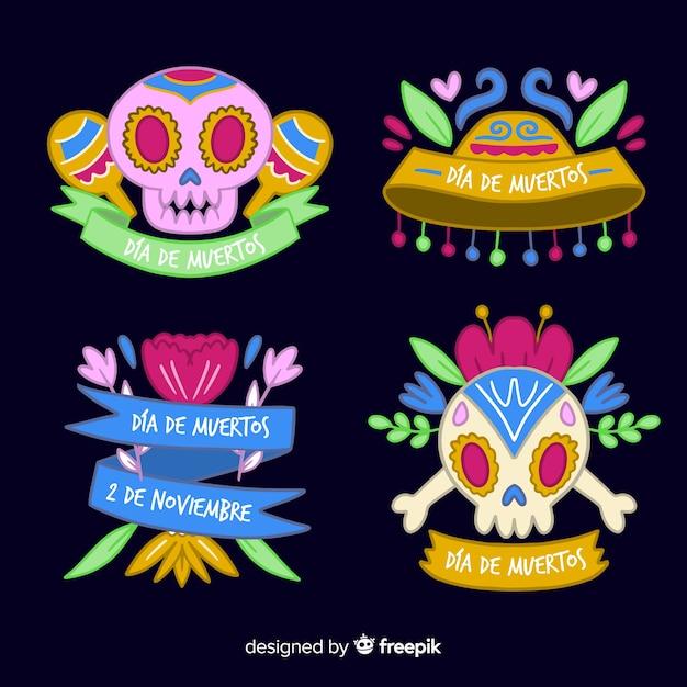 Design plat de la collection d'étiquettes dia de muertos Vecteur gratuit