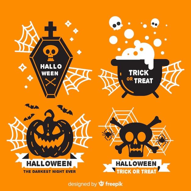 Design plat de la collection d'étiquettes d'halloween Vecteur gratuit