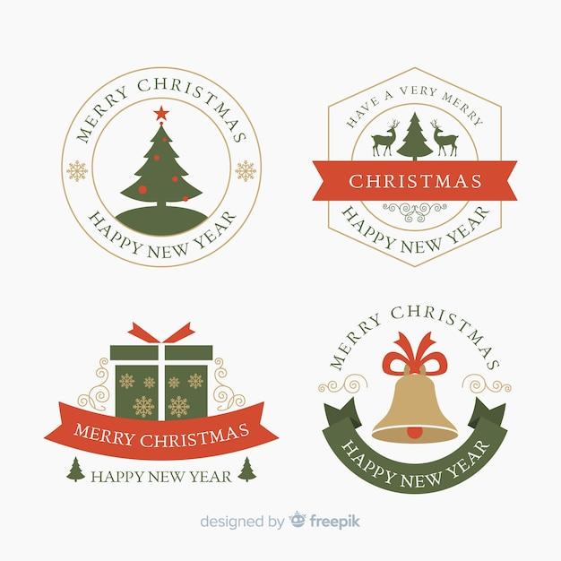 Design Plat De La Collection D'étiquettes De Noël Vecteur gratuit