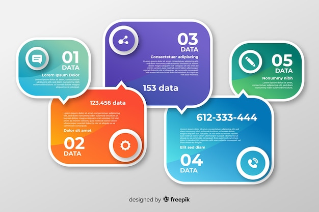Design plat de collection d'infographies étapes Vecteur gratuit