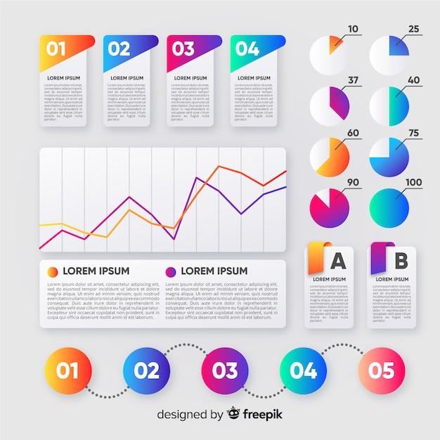 Design plat de collection d'infographies étapes Vecteur gratuit