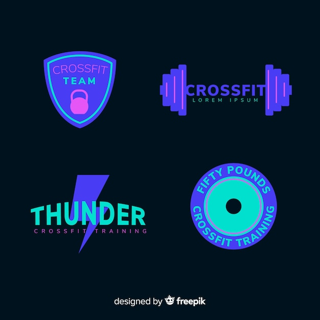 Design plat de collection de logo de motivation crossfit Vecteur gratuit