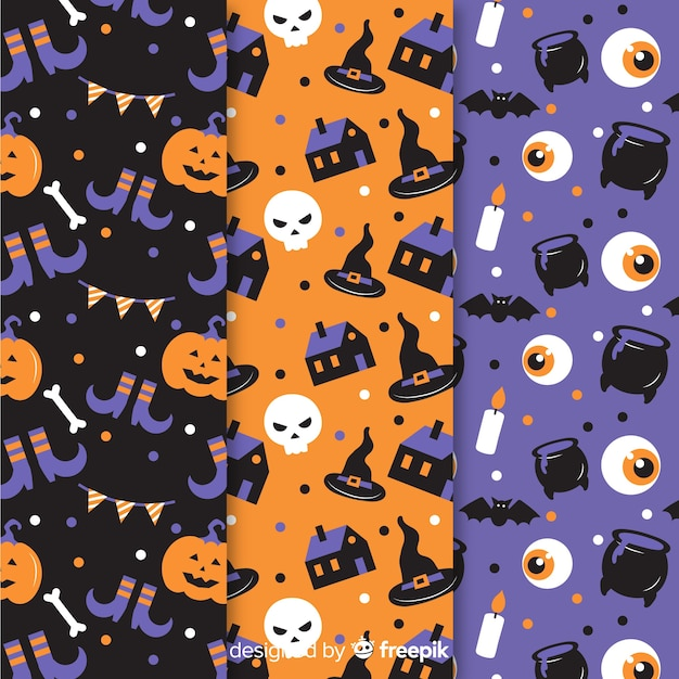 Design plat de collection de modèles d'halloween Vecteur gratuit